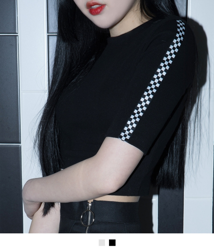 Check Sleeve Panel Crop Top