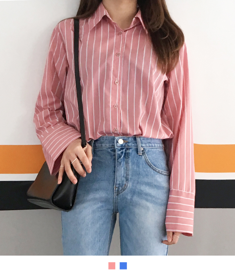 Striped Button-Front Wide Cuff Shirt