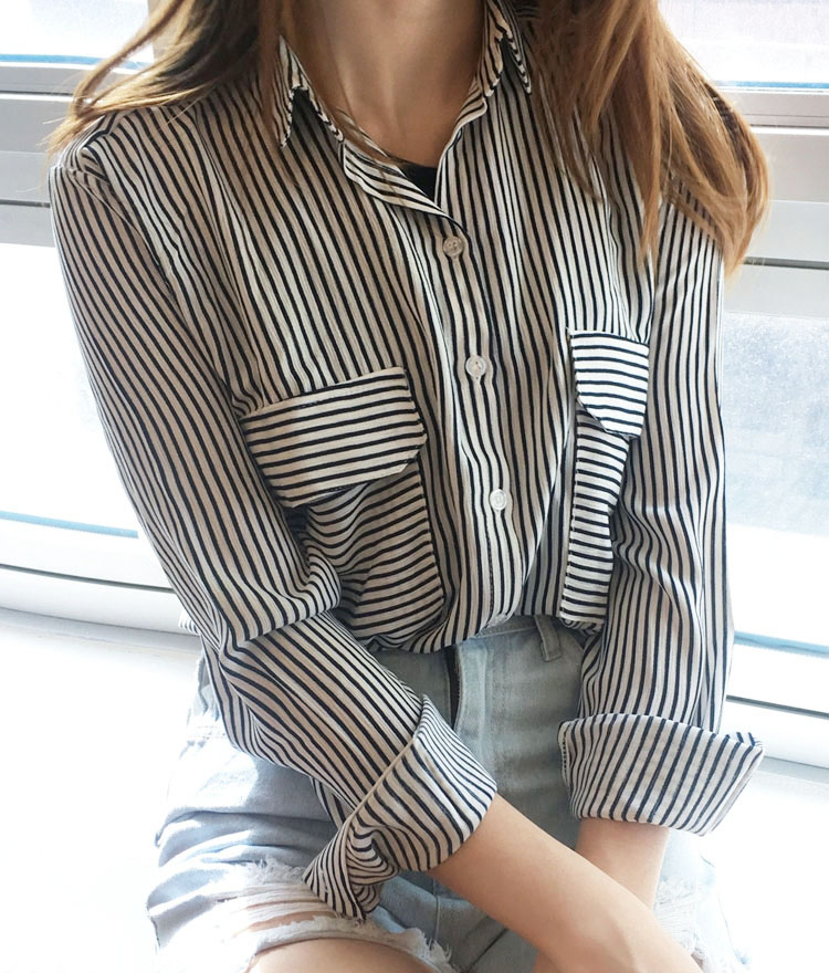 Striped Pocket Detail Shirt