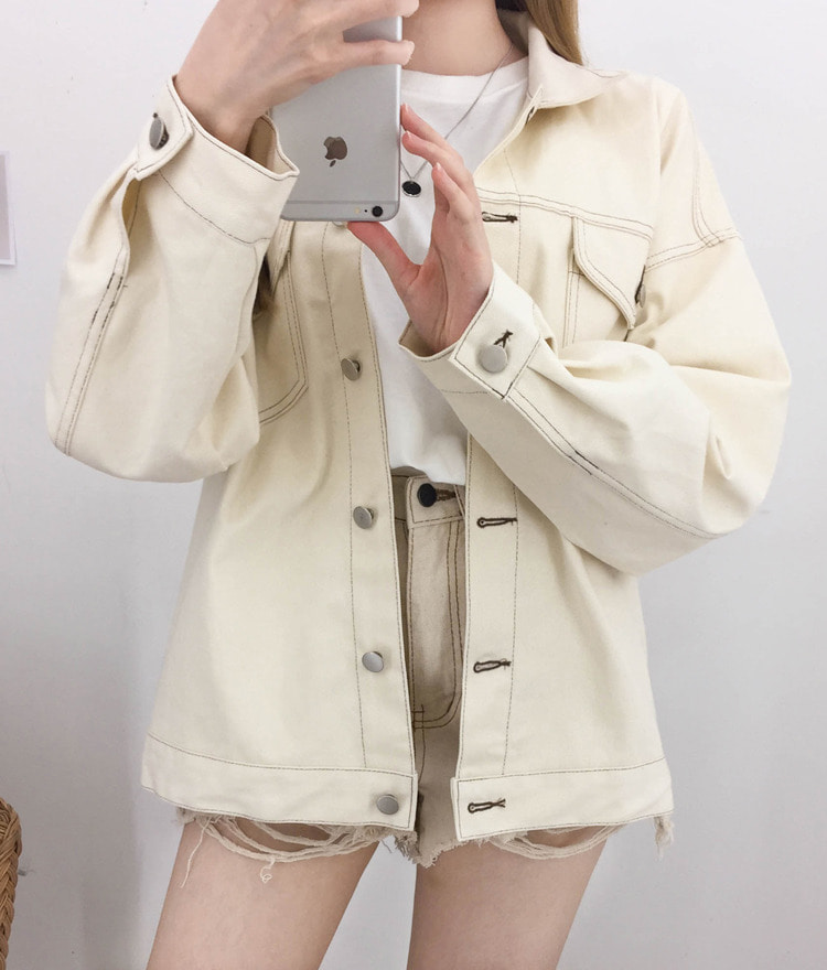 NEVERM!NDContrast Stitch Loose Fit Jacket
