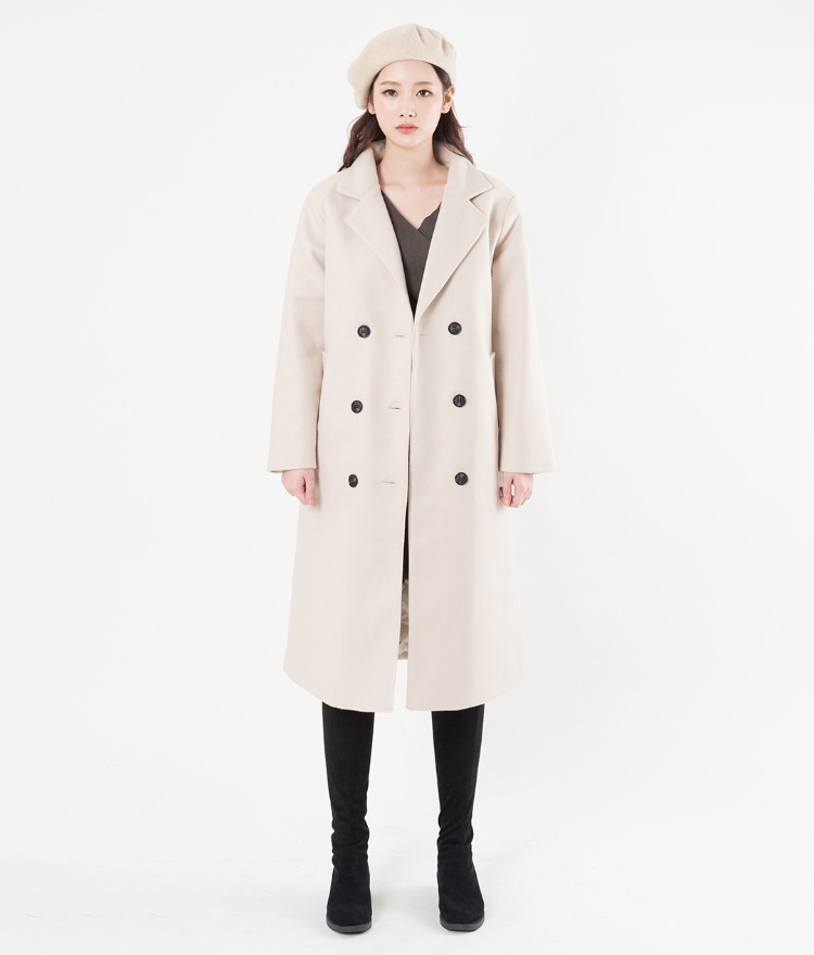 Wool Blend Double-Breasted Straight Cut Coat