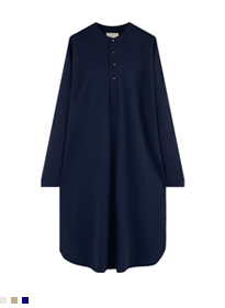 Henley Neck Tunic Midi Dress
