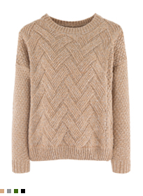 Weave Pattern Knit Sweater