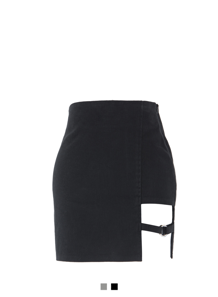 Cut-Out Strap Accent Mini Skirt