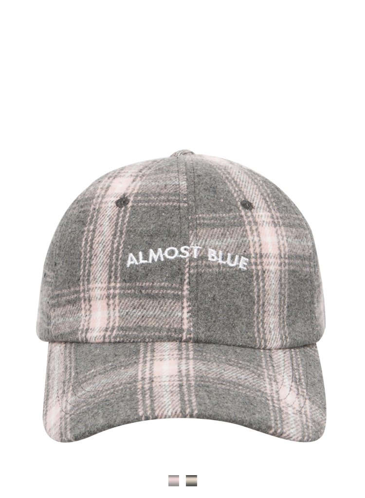 Embroidered Lettering Tartan Check Cap