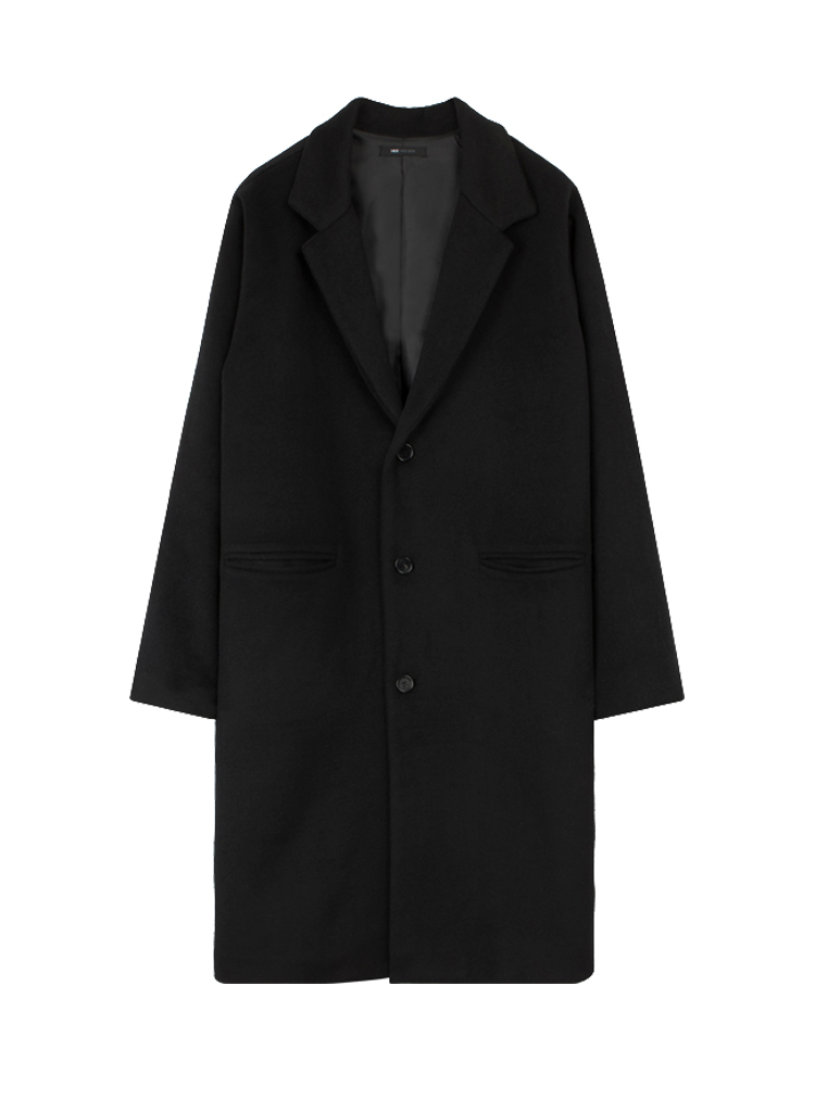 Black Single-Breasted Loose Fit Coat
