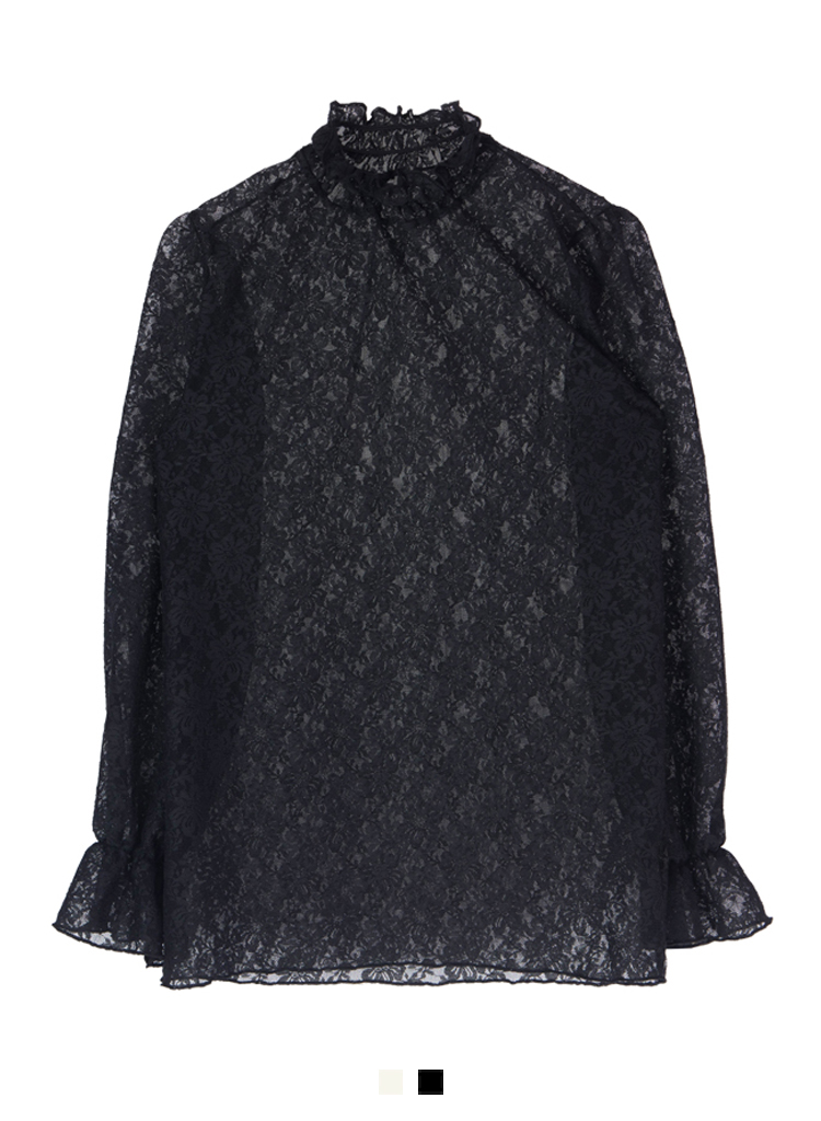 See-Through High Neck Lace Blouse