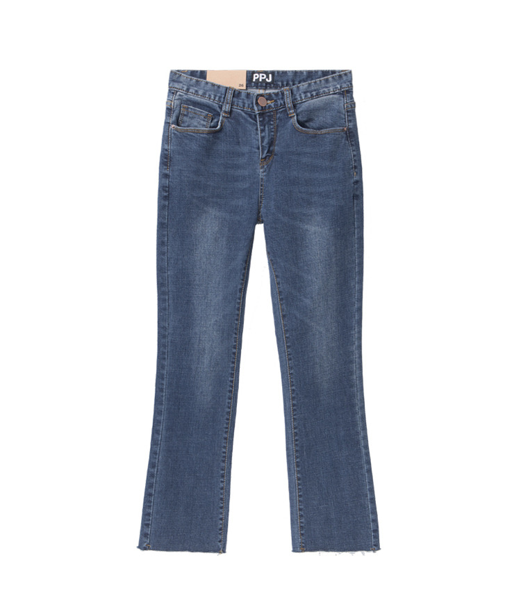 Frayed Hem Jeans Ankle Cut Jeans