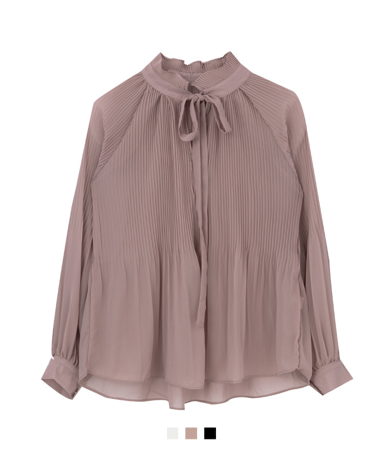 Tie-Neck Pleated Blouse