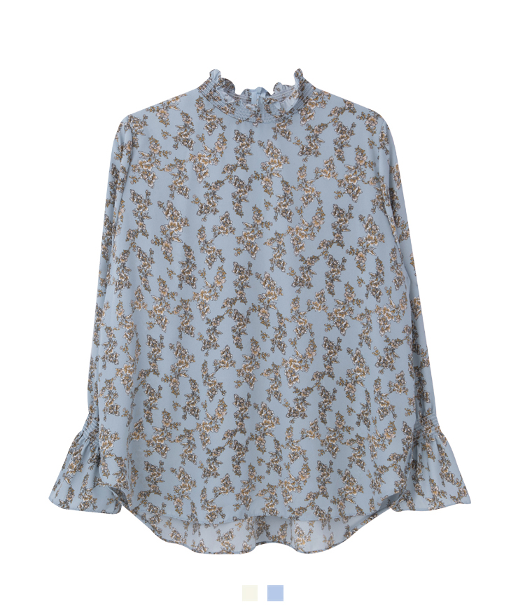 Floral High Ruffled Collar Blouse