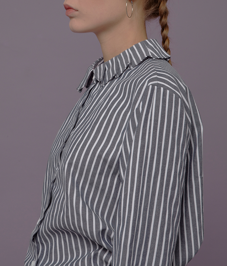 Stripe Print Collared Shirt