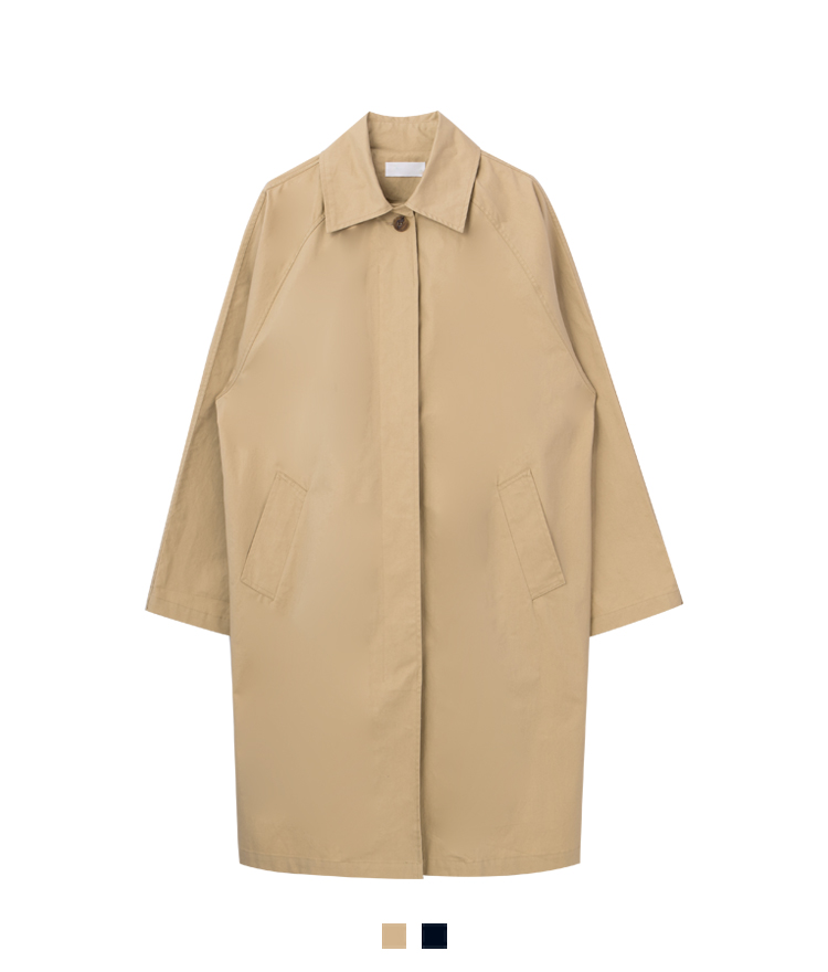 Concealed Placket Raglan Sleeve Coat