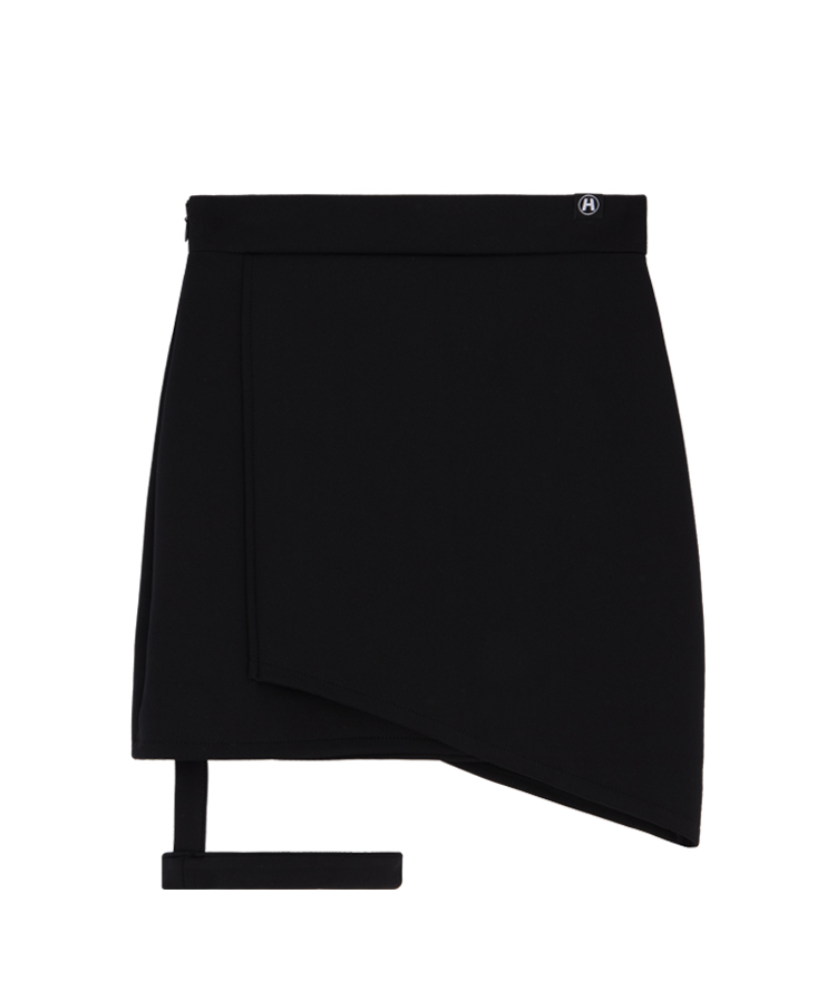 Leg Strap Detail Faux Wrap Skirt