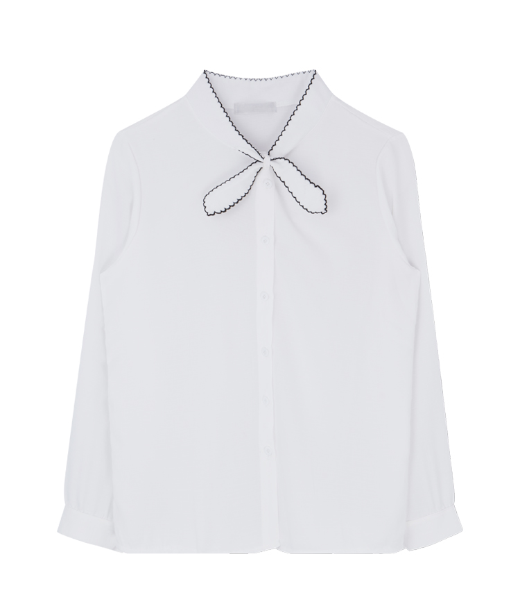 Contrast Trim Tie-Neck Detail Blouse
