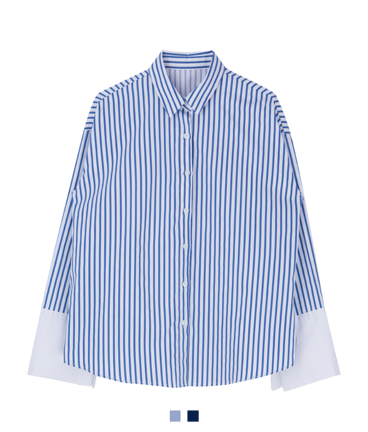 Wide Contrast Cuff Striped Shirt