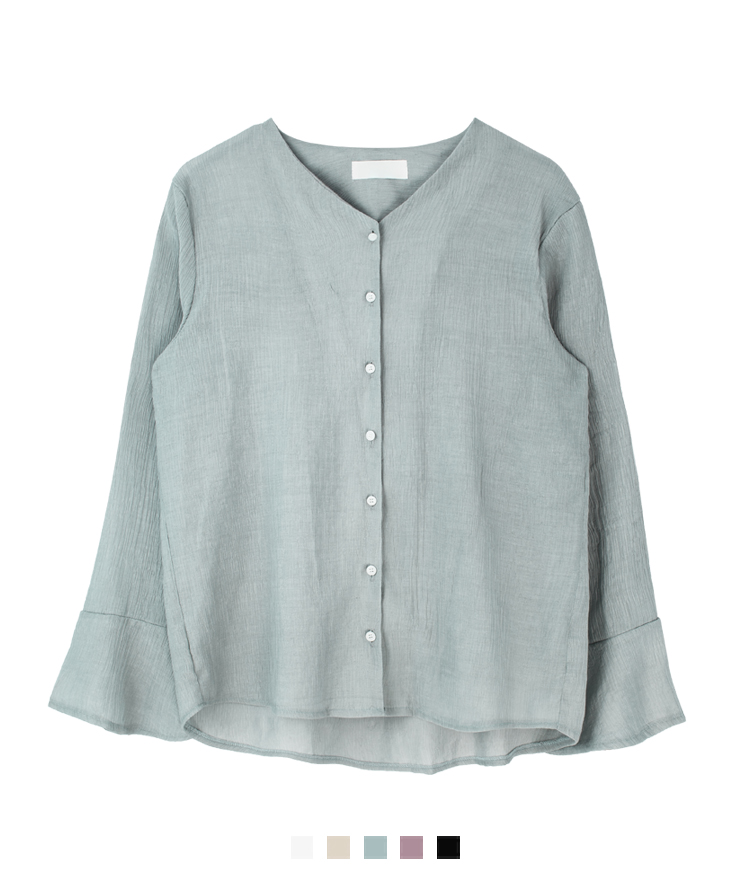 V-Neck Button-Front Crinkled Blouse