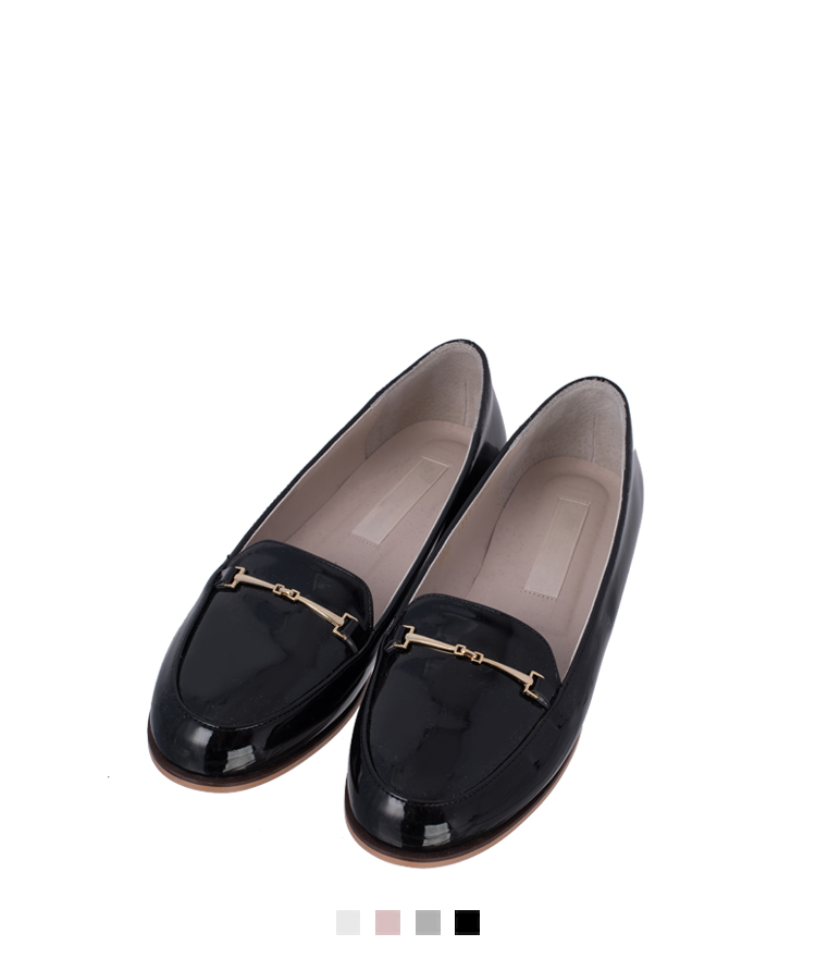Glossy Metal Accent Loafers