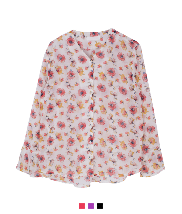 Ribbon-Detailed Cuff Floral Blouse