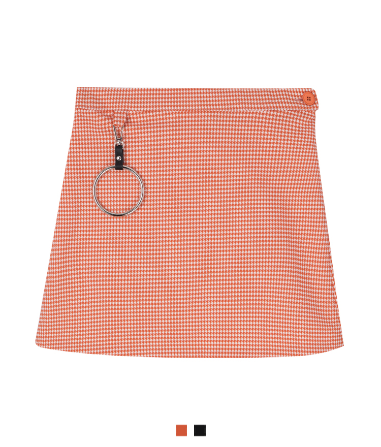 Metal Ring Accent Houndstooth Mini Skirt
