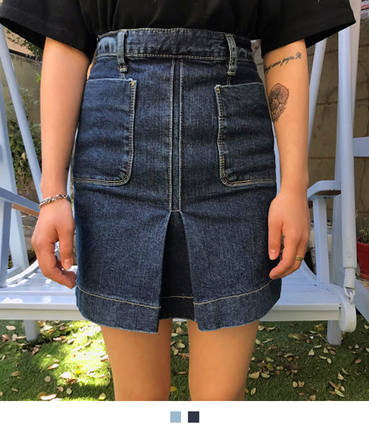 Inverted Pleat Mini Denim Skirt