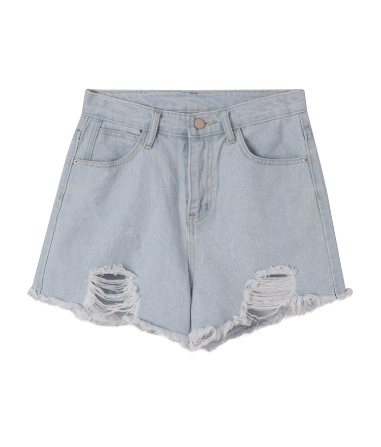 Light Blue Ripped Denim Shorts