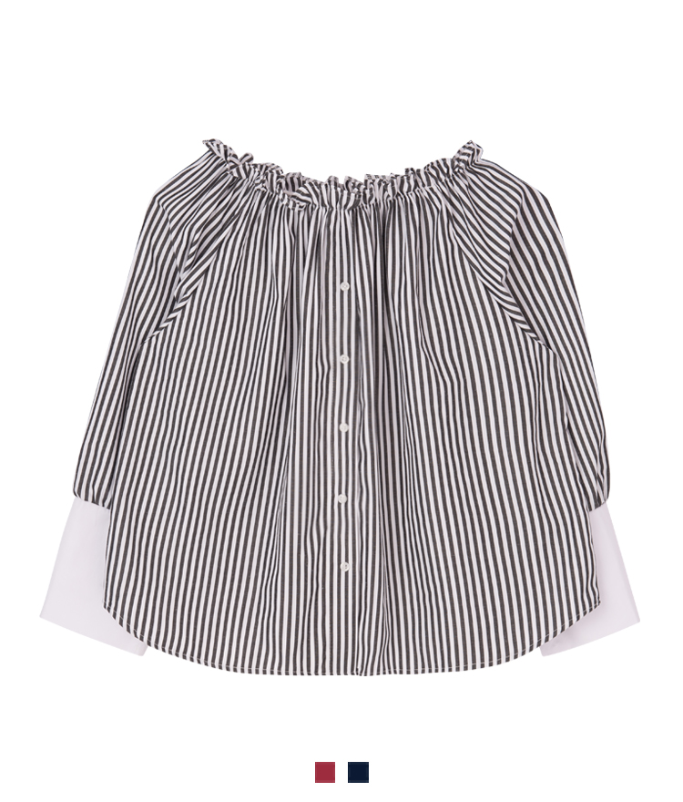 Striped Button-Front Off-Shoulder Top