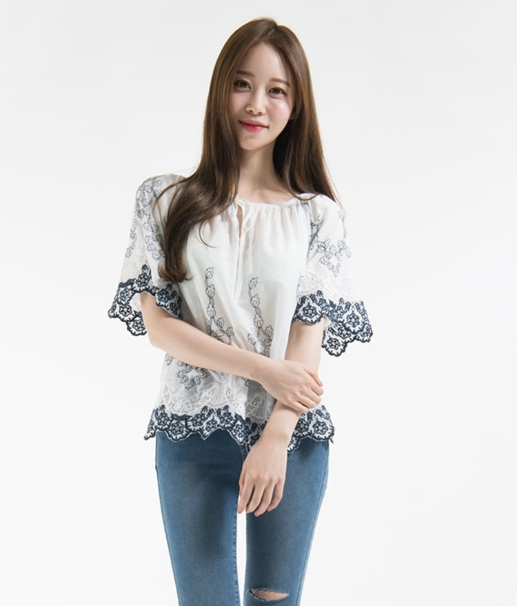 Embroidered Drawstring Neck Blouse