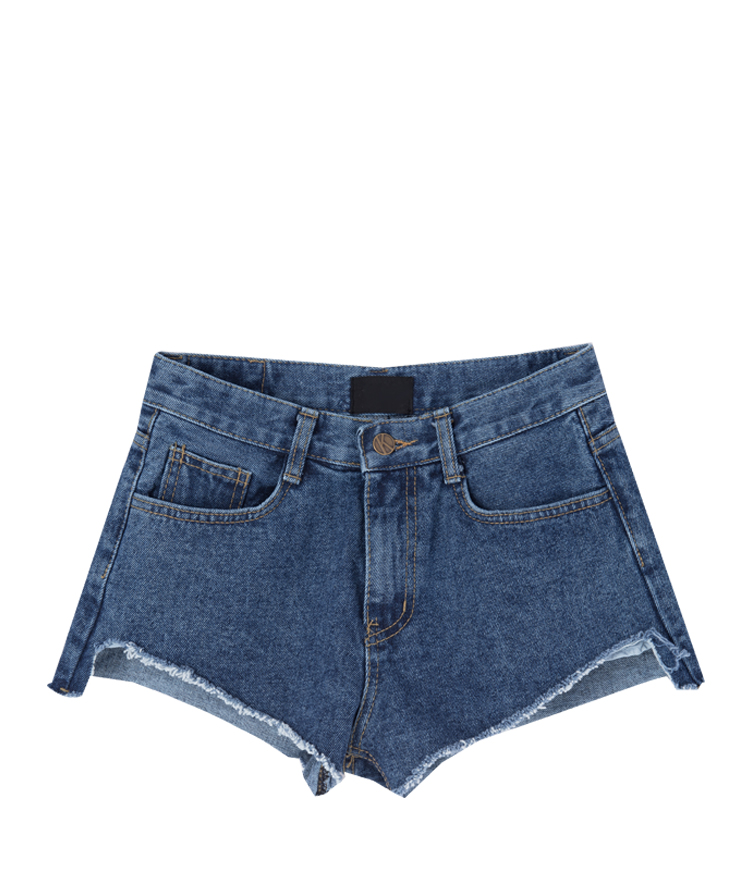Uneven Frayed Hem Denim Shorts