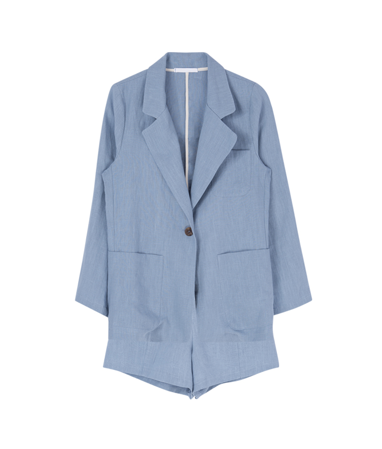 [SET] Linen Jacket And Shorts Set