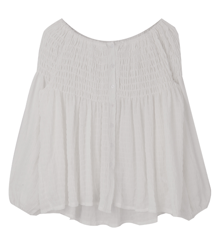 Off-Shoulder Shirred Panel Blouse