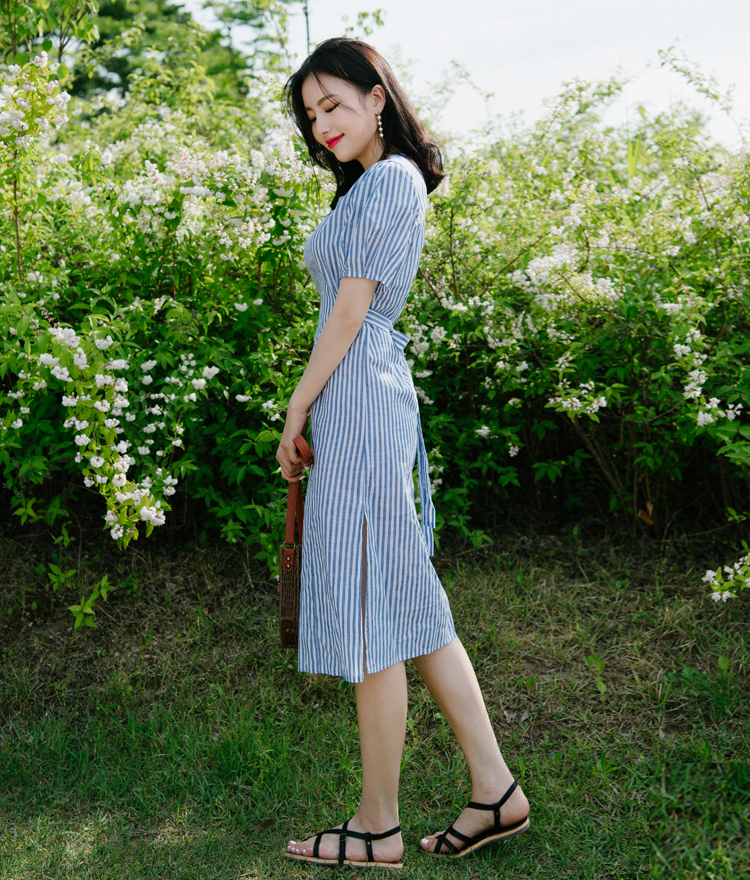 Self-Tie Belt Striped Dress