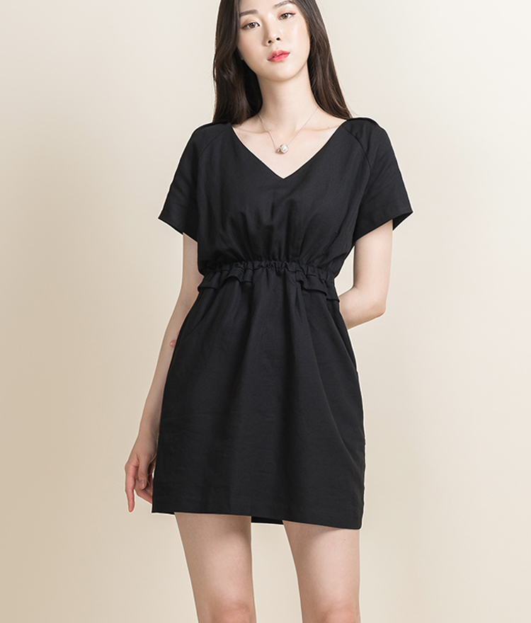 BAUHAUSV-Neck Elastic Waist Dress