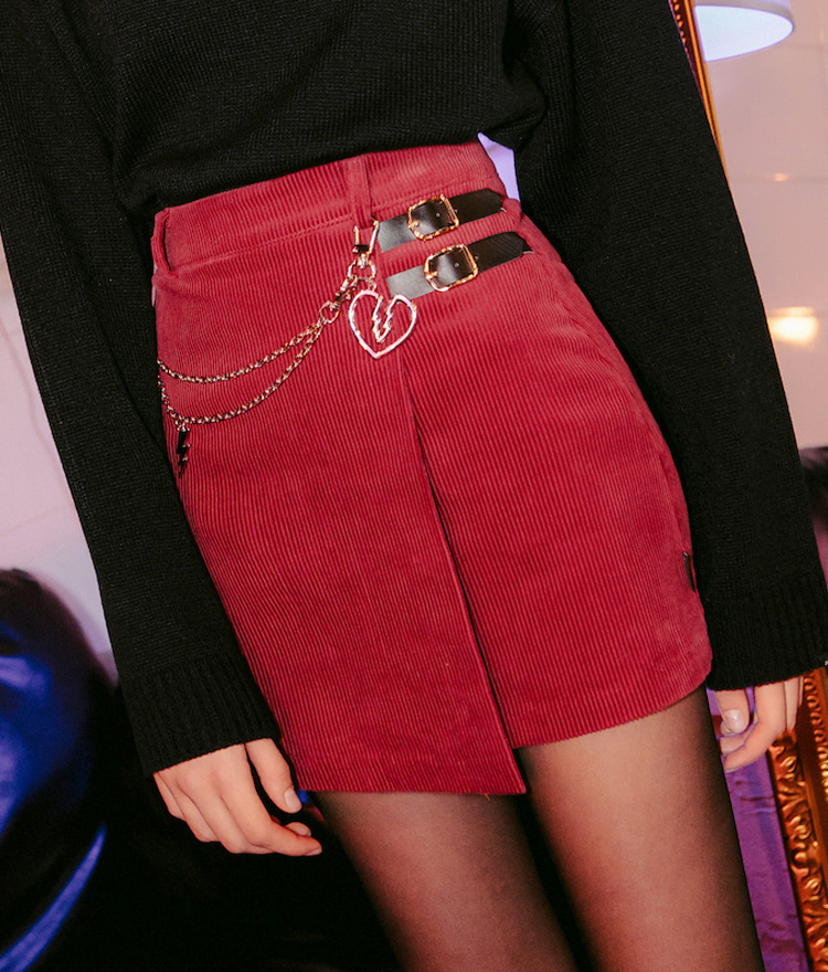 LONELY CLUB  Side Buckle Accent Corduroy Skirt