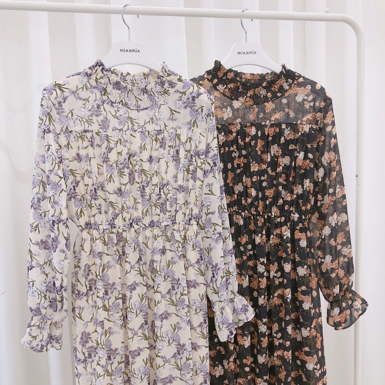 ROMANTIC MUSEHigh Neck Floral Midaxi Dress