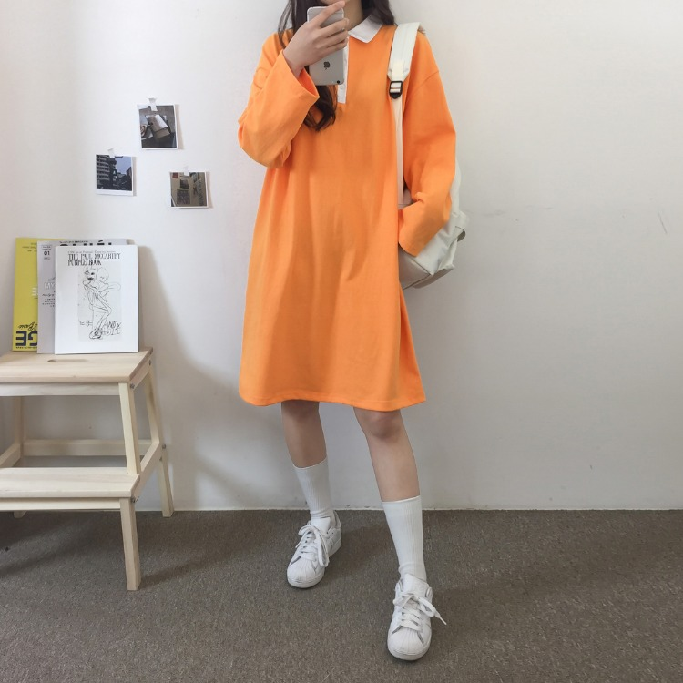 NEVERM!NDContrast Collar Loose Fit Dress