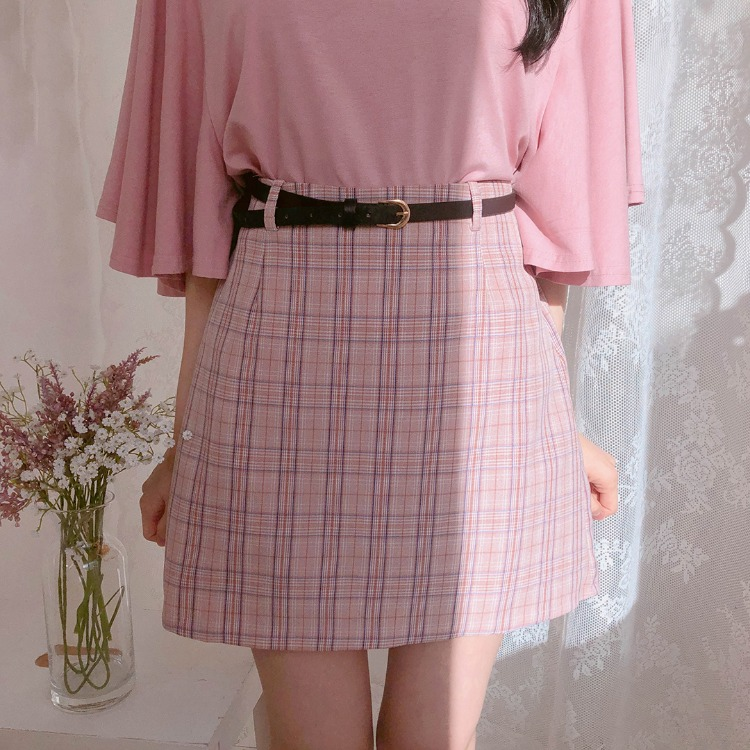 ROMANTIC MUSEBelted Check Mini Skirt