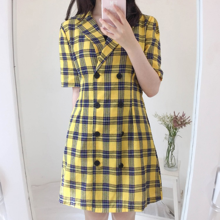 ROMANTIC MUSEDouble-Breasted Check Dress