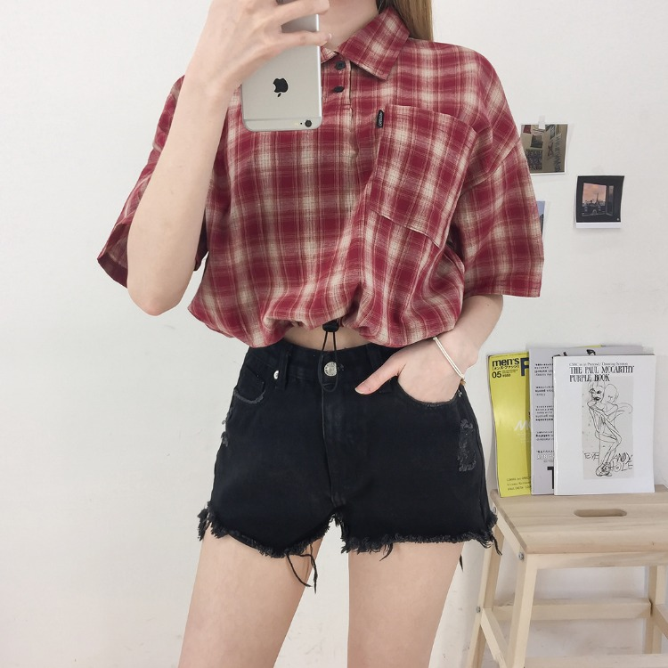 NEVERM!NDCropped Check Shirt