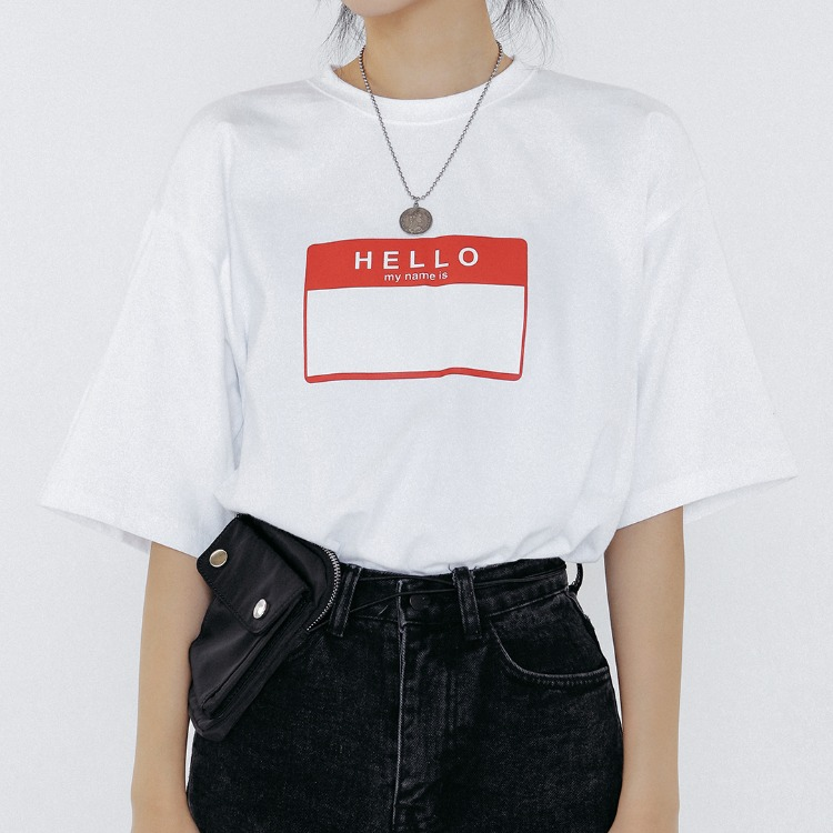 THINKTWICEName Tag Print T-Shirt
