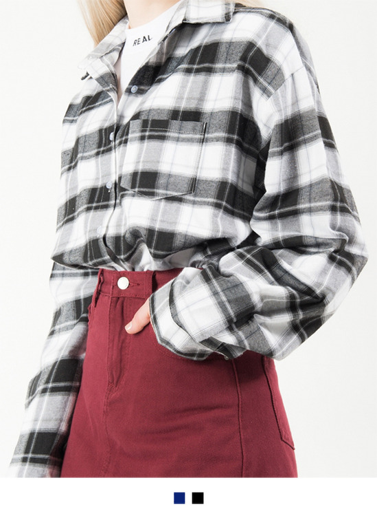 Plaid Patterned One Pocket Shirt
