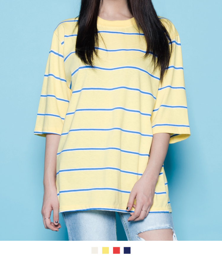 Striped Round Neck Loose Fit T-Shirt
