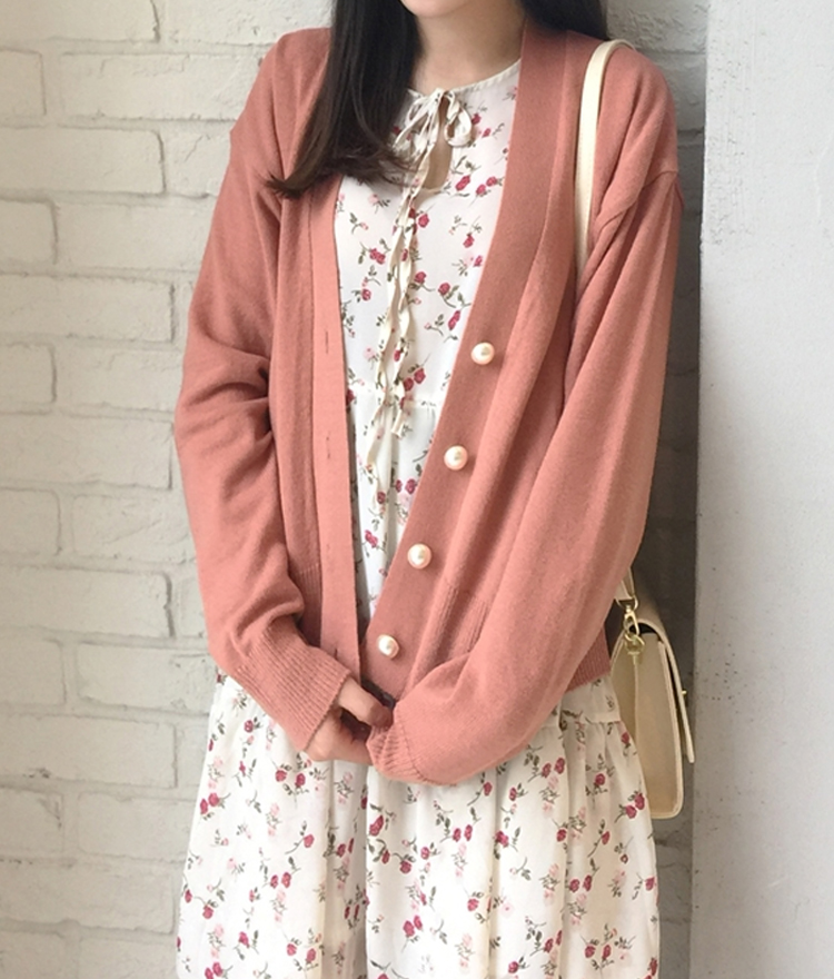Faux Pearl Button Knit Cardigan