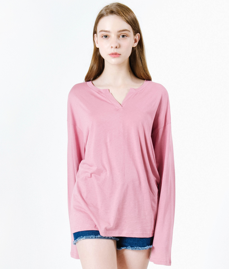 Split Neck Extended Sleeve T-Shirt