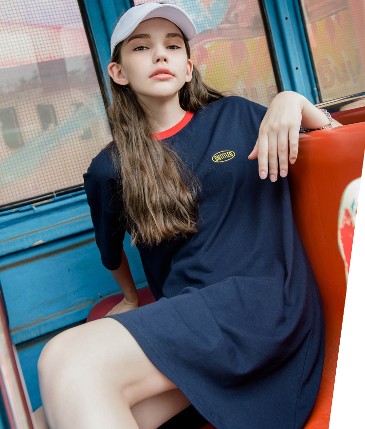 UNTITLE8Contrast Color Neck Logo Embroidered T-Shirt Dress