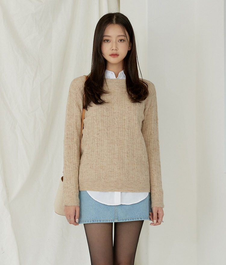 ESSAYLong Sleeve Cable Knit Top