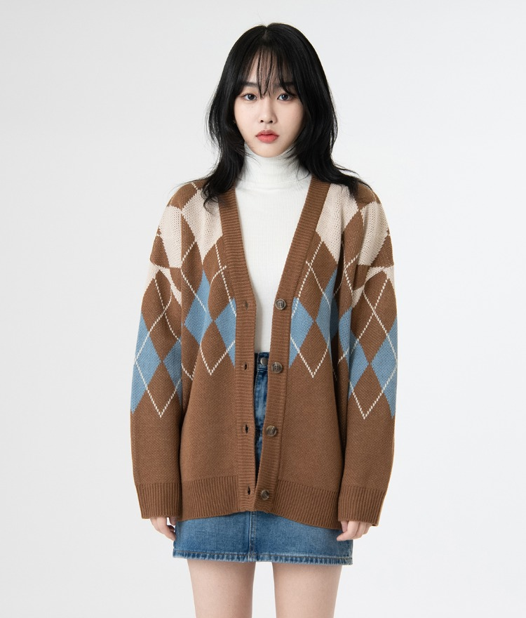 NEVERM!NDArgyle Pattern Loose Fit Cardigan