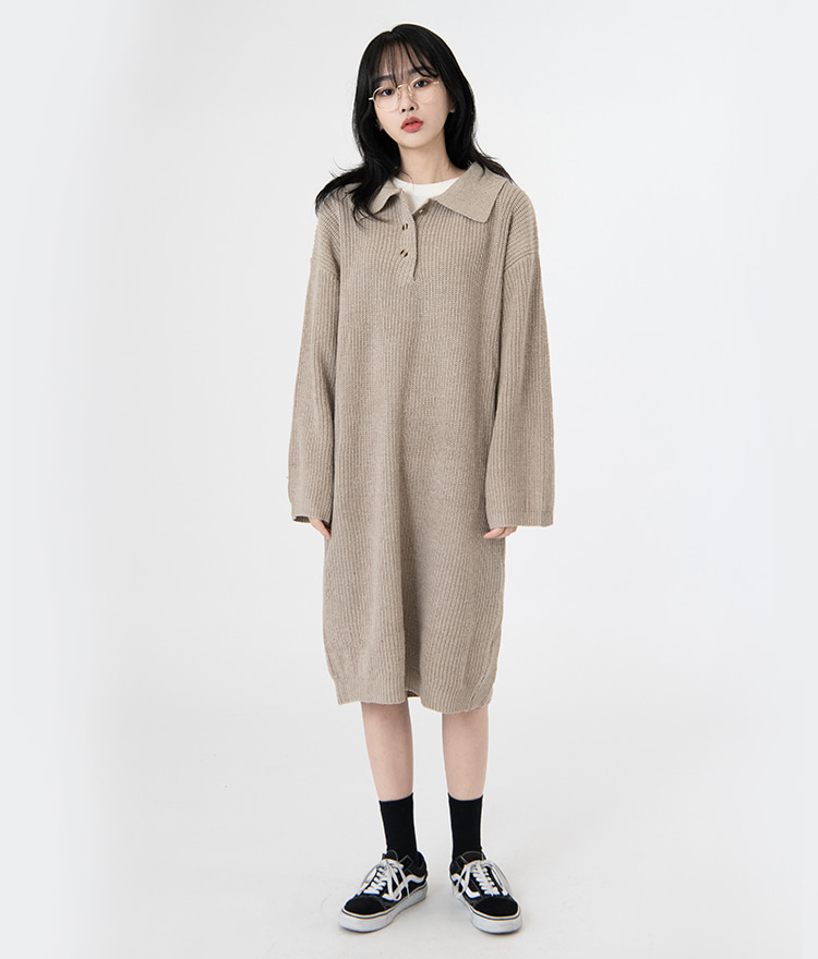 NEVERM!NDCollared Loose Fit Knit Dress