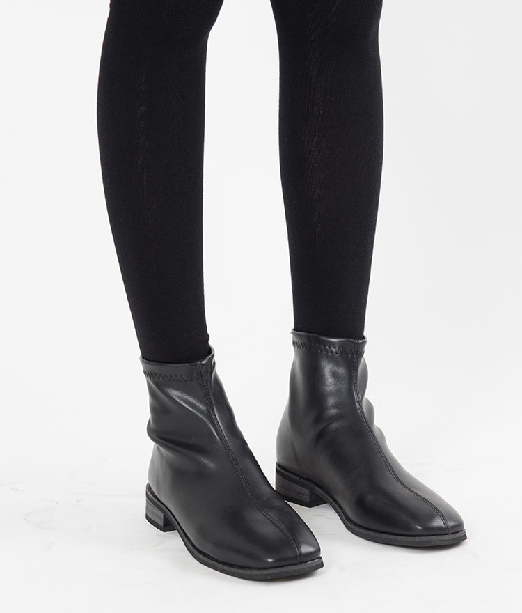 Faux Leather Low Heel Ankle Boots