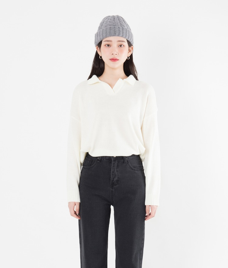 Johnny Collar Loose Fit Knit Top