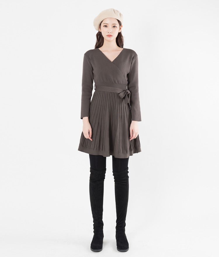 Self-Tie Belt Surplice Neck Dress